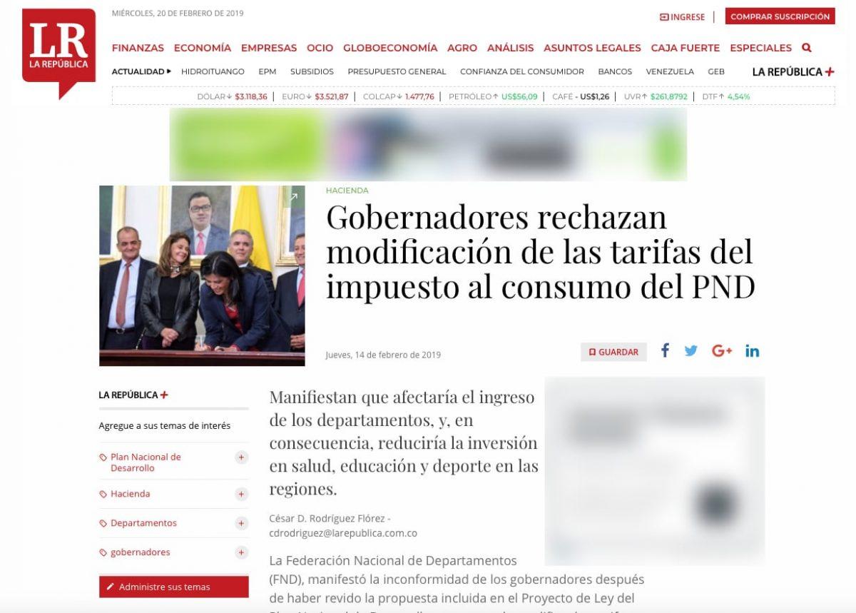 Rechazo de los Gobernadores a la modificación de las tarifas del Impuesto al Consumo en el PND