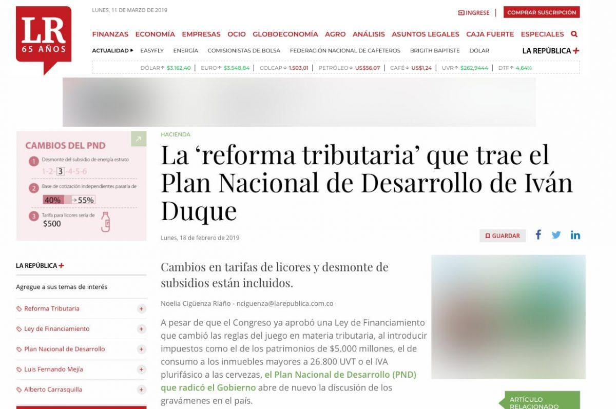 """Una """"reforma tributaria"""" dentro del Plan Nacional de Desarrollo"""