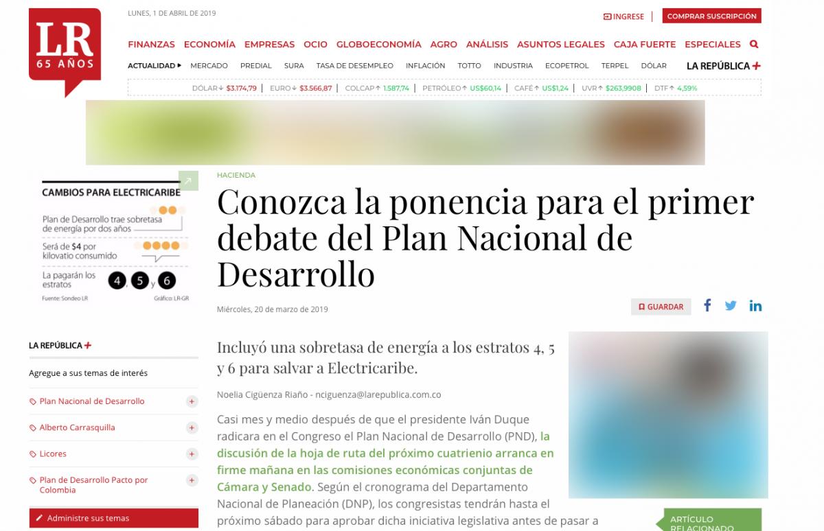 Sobretasas y cambios en la ponencia del primer debate del Plan Nacional de Desarrollo