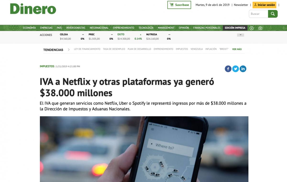 DIAN recibe pago de IVA de plataformas digitales