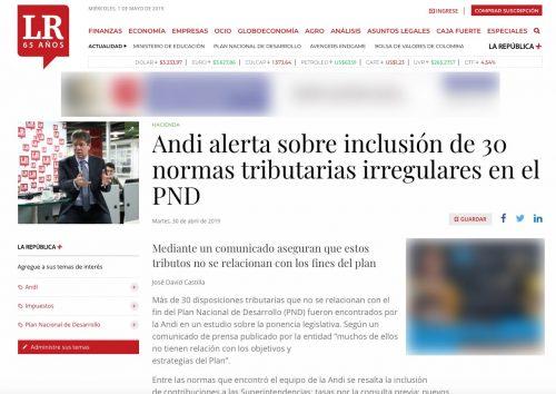 Andi alerta sobre la inclusión de normas tributarias irregulares en el PND