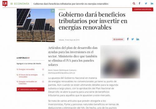 Beneficios tributarios por inversiones en energías renovables