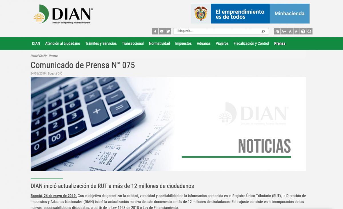 DIAN inició actualización de RUT a más de 12 millones de ciudadanos