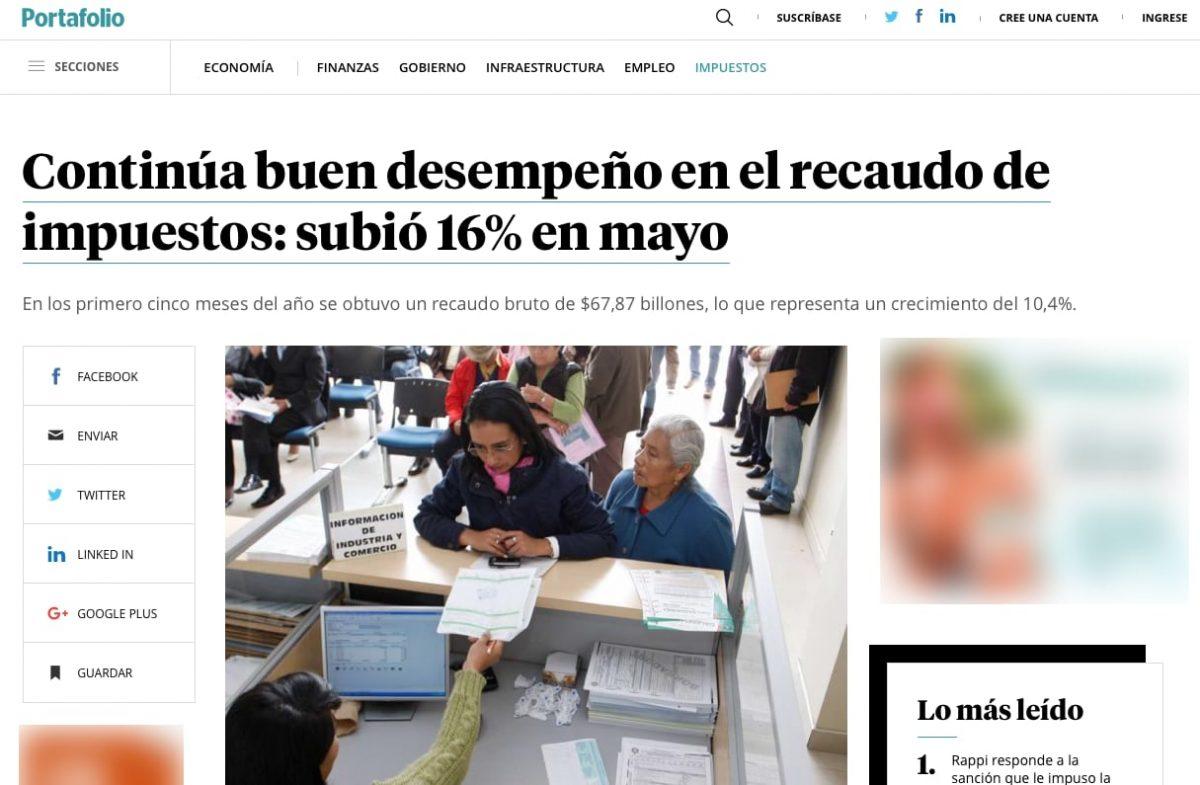 Recaudo de impuestos subió 16% en mayo