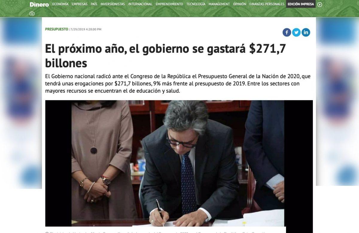 Cuánto vale el presupuesto de Colombia en 2020