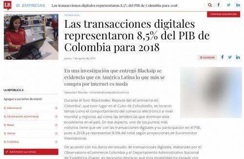 Transacciones digitales representaron 8,5% del PIB de Colombia para 2018