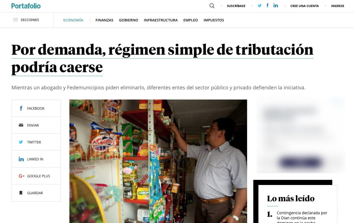 Régimen simple de tributación podría caerse por demanda
