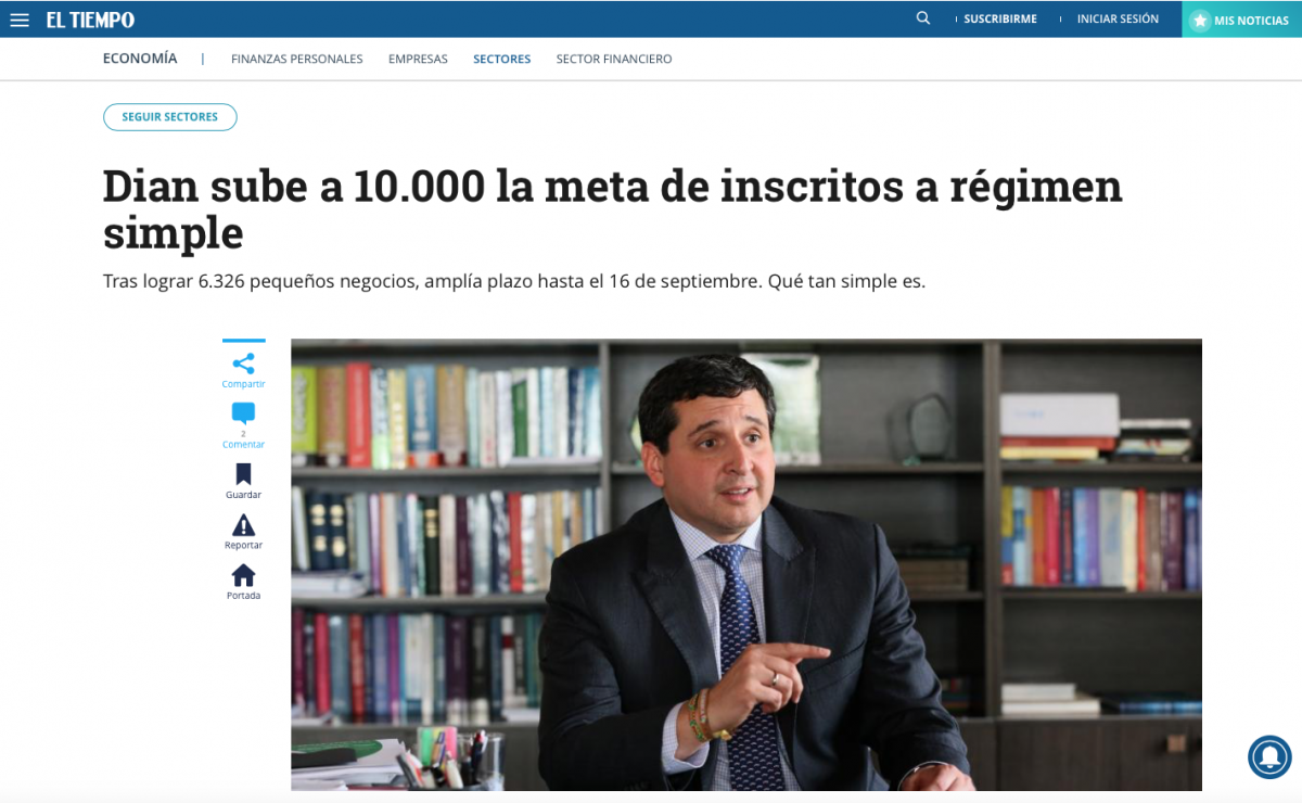 Dian sube a 10.000 el objetivo de inscritos a régimen simple