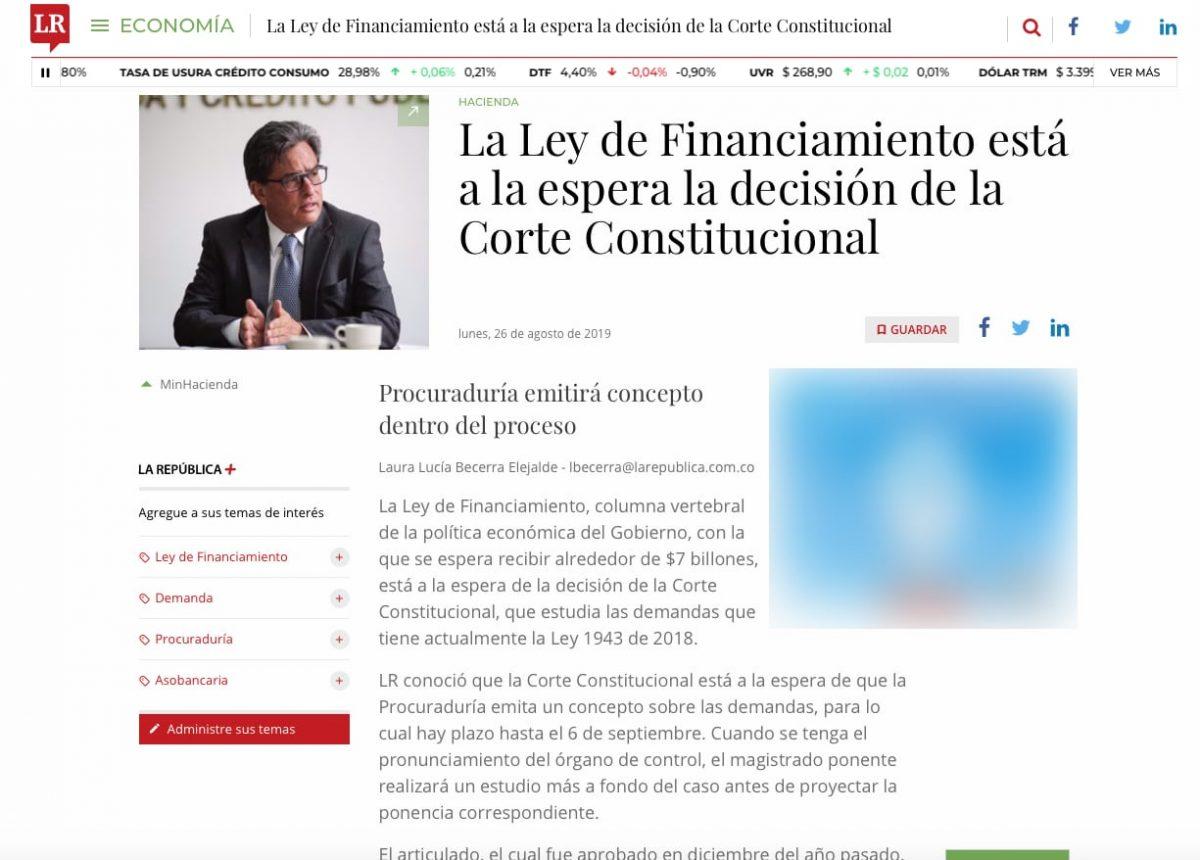 La Ley de Financiamiento está a la espera la decisión de la Corte Constitucional
