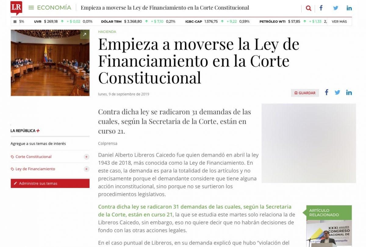 Comienza recorrido de la Ley de Financiamiento en la Corte Constitucional