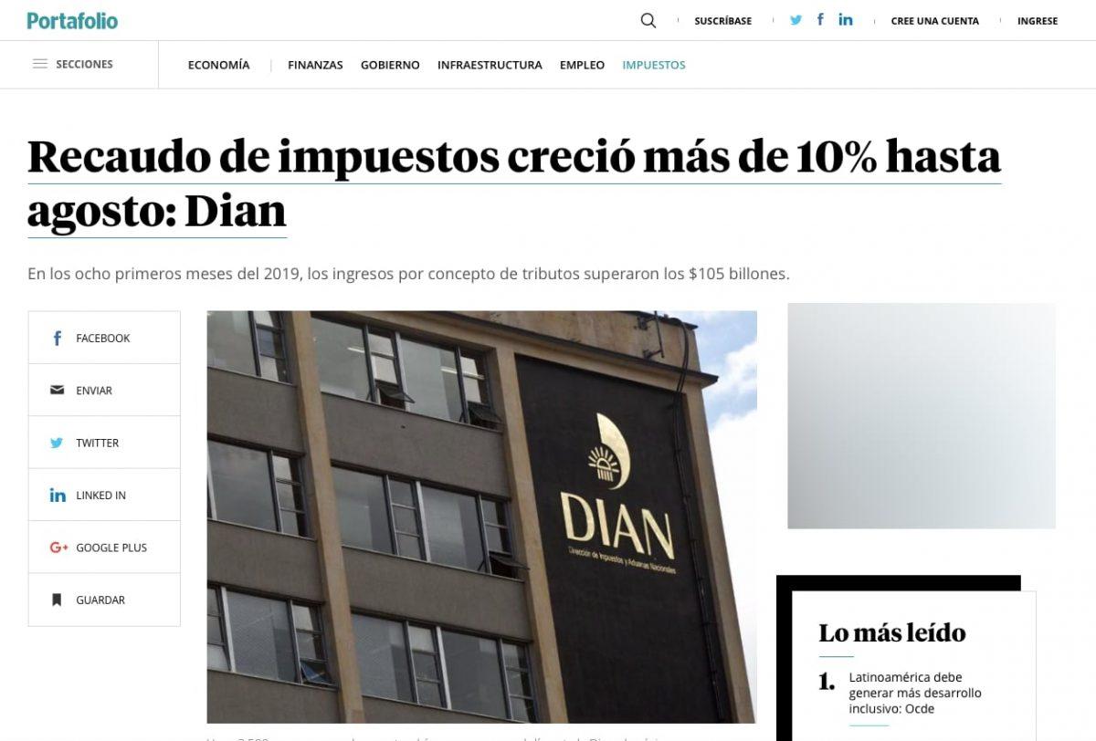 Dian aumentó recaudo de impuestos en más de 10% hasta agosto