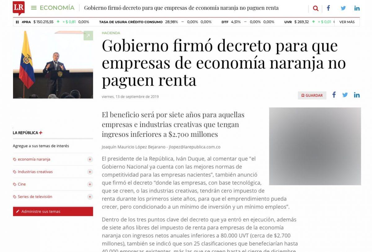 Decreto del gobierno para que empresas de economía naranja no paguen renta