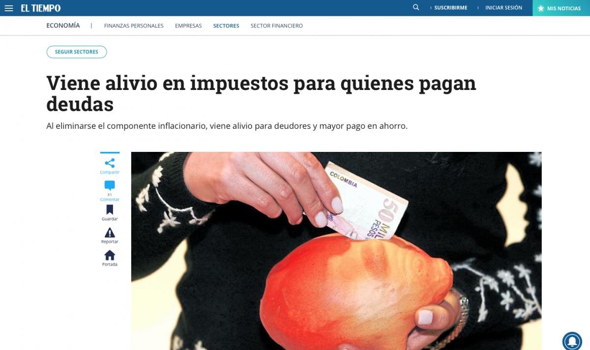 Suben impuestos por rendimientos financieros en Colombia