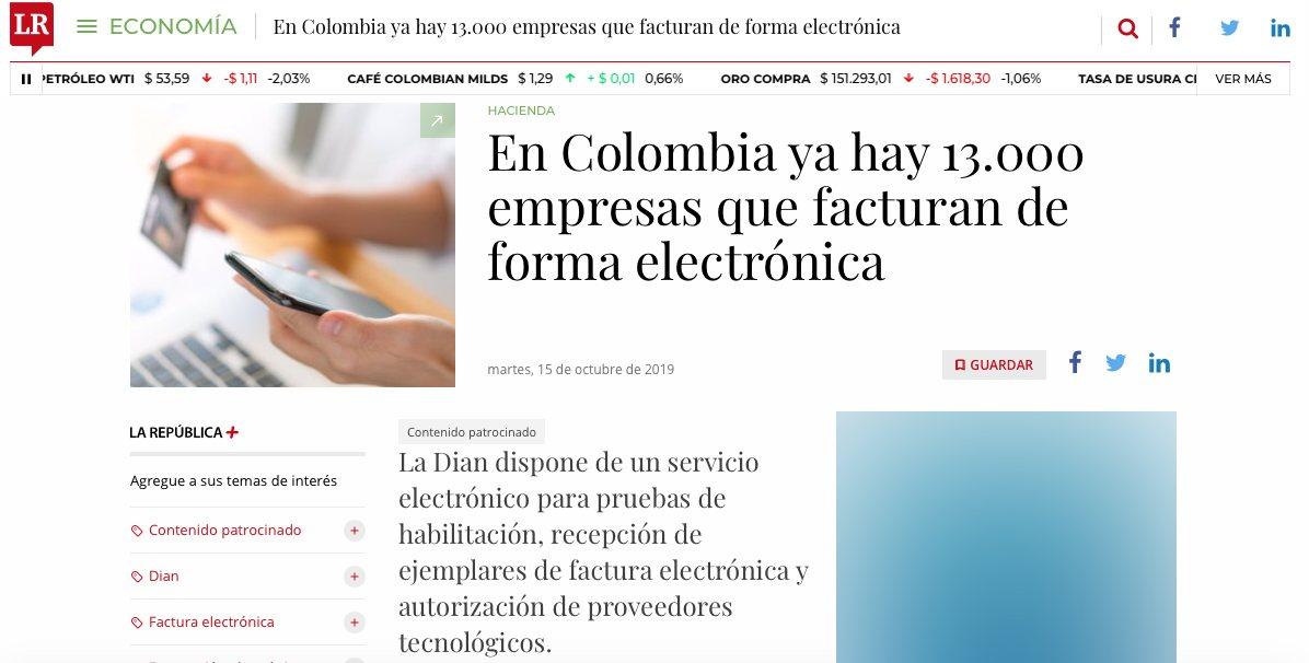 Miles de empresas colombianas ya facturan de forma electrónica