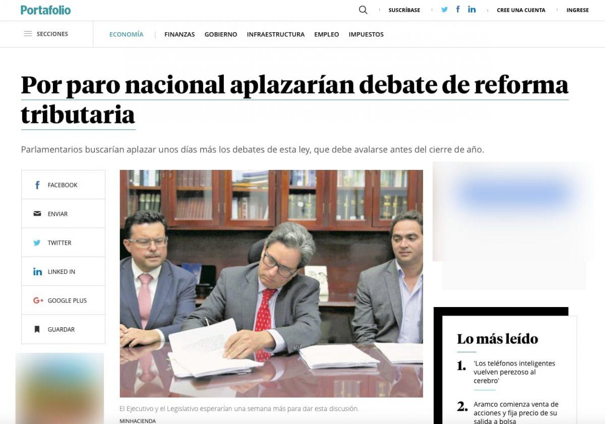 Por paro nacional se aplazaría el debate de la reforma tributaria