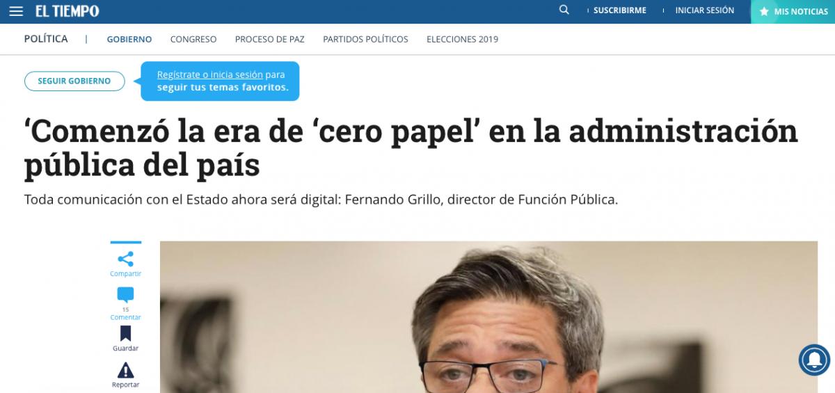 """""""Cero Papel"""" en la administración pública de Colombia"""