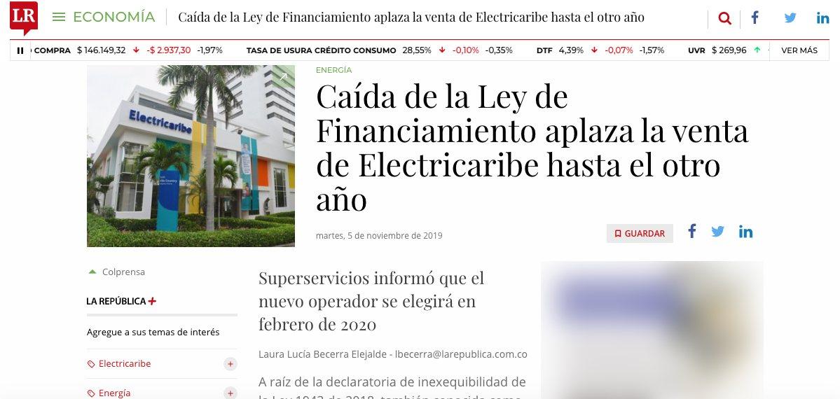 Caída Ley de Financiamiento retrasa venta de Electricaribe