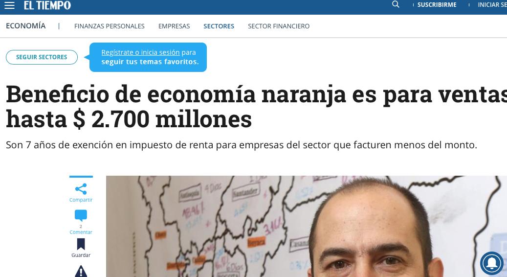Beneficio en economía naranja para ventas hasta $ 2.700 millones