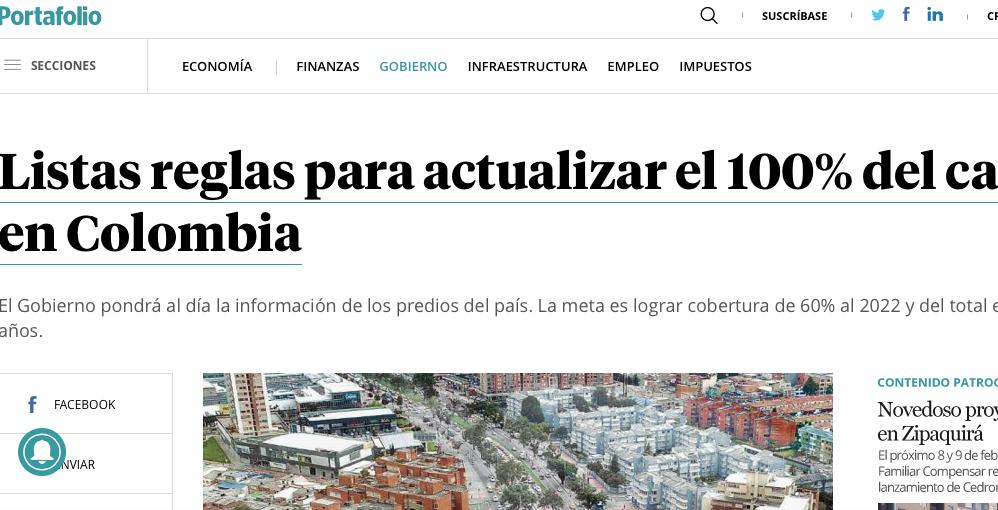 Ya están las reglas para actualizar el catastro en Colombia