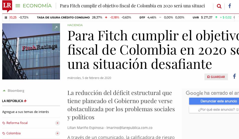 ¿Podrá cumplir Colombia su objetivo fiscal para 2020?