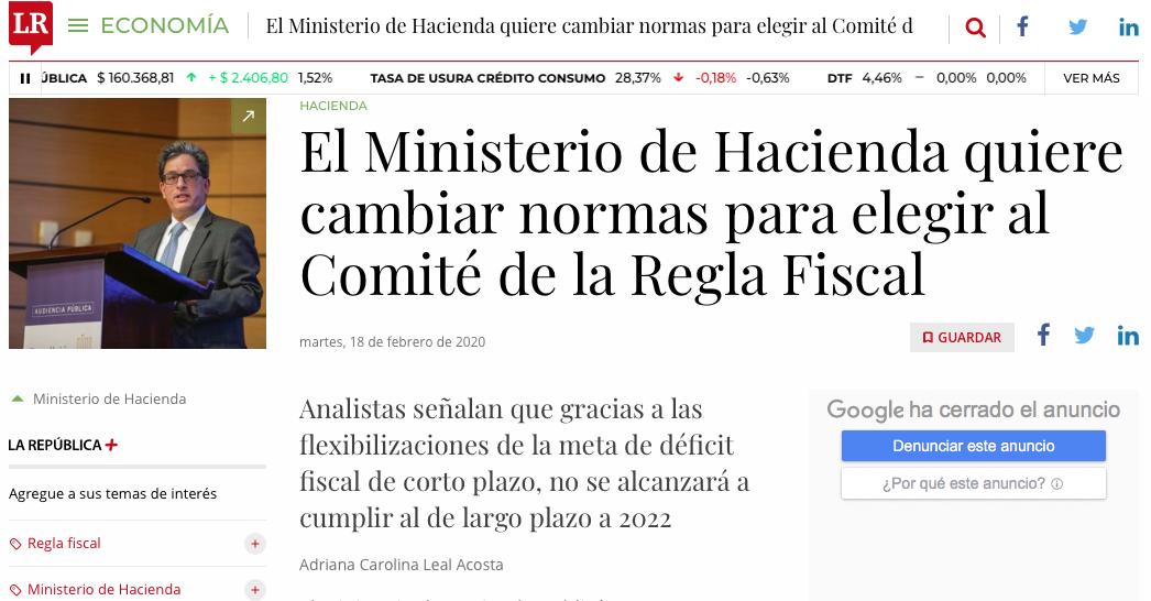 Ministerio de Hacienda quiere cambiar normas para elegir al Comité de la Regla Fiscal