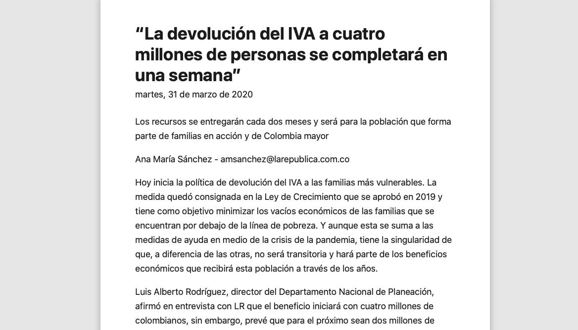 """""""La devolución del IVA a cuatro millones de personas se completará en una semana"""""""