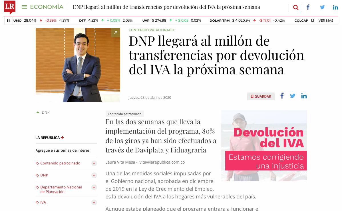 DNP alcanzará el millón de transferencias por devolución de IVA la próxima semana