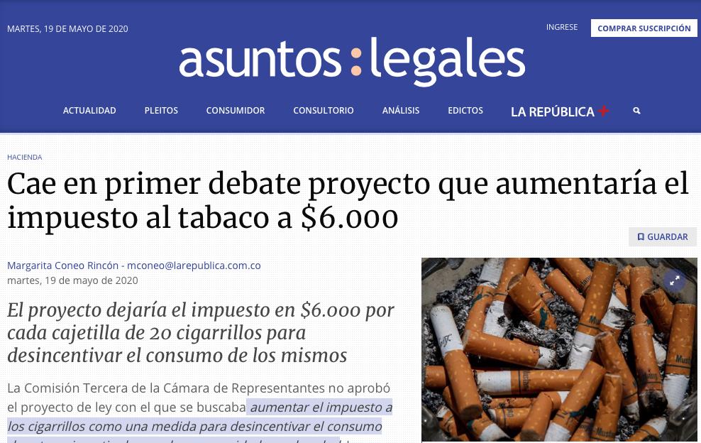 Cayó en primer debate proyecto para aumentar el impuesto al tabaco a $6.000