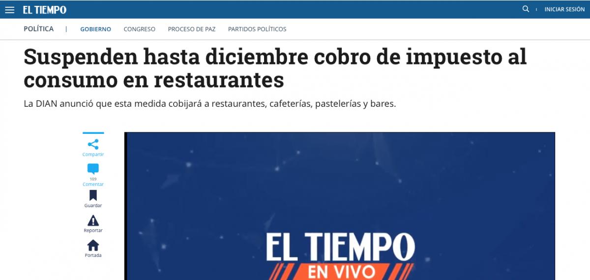 Se suspende hasta diciembre cobro del impuesto al consumo en restaurantes