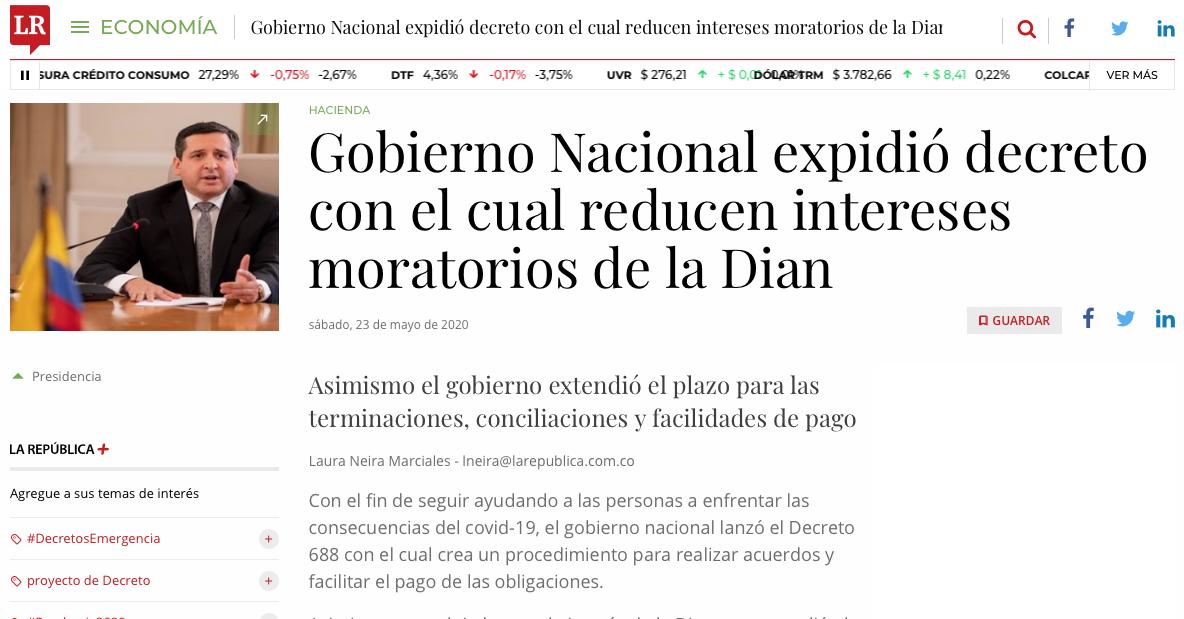 Gobierno expidió decreto para reducir intereses de mora de la Dian