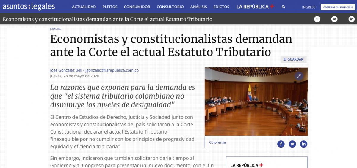 Demandan ante la Corte el actual Estatuto Tributario