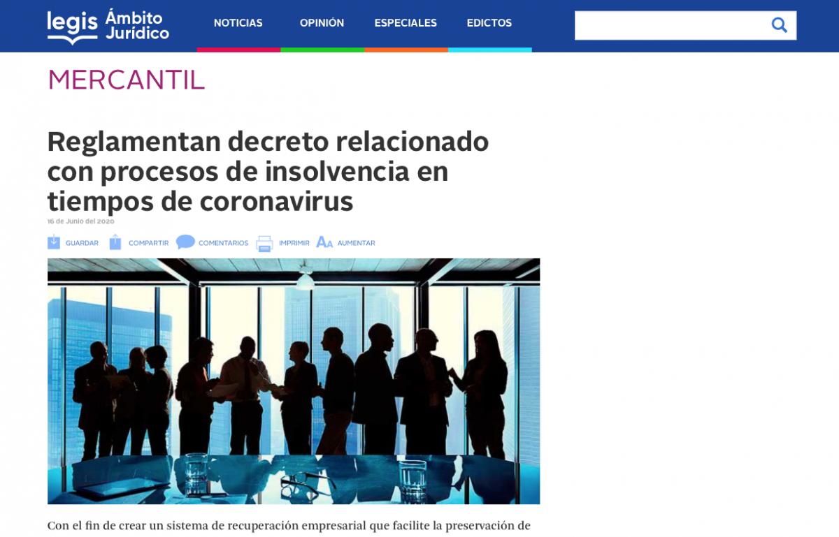 Se reglamente decreto relacionado con procesos de insolvencia durante la emergencia por coronavirus