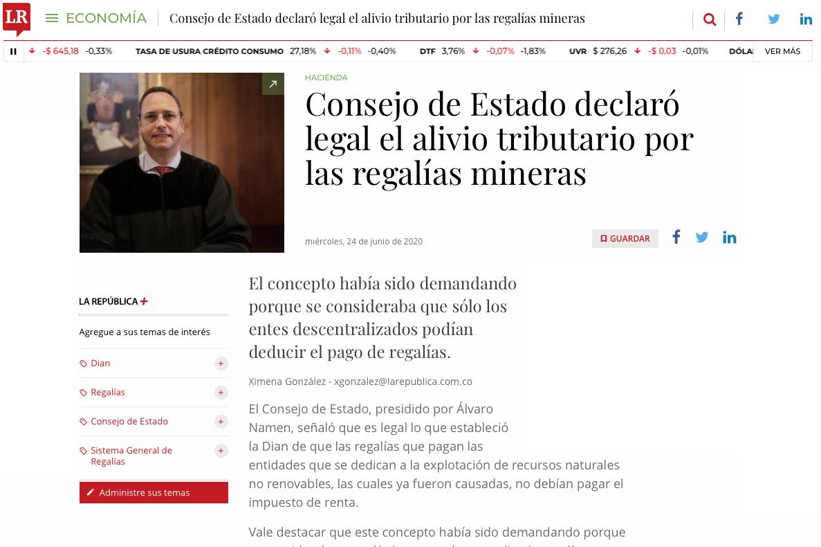 Consejo de Estado declaró legal el alivio tributario para las regalías mineras