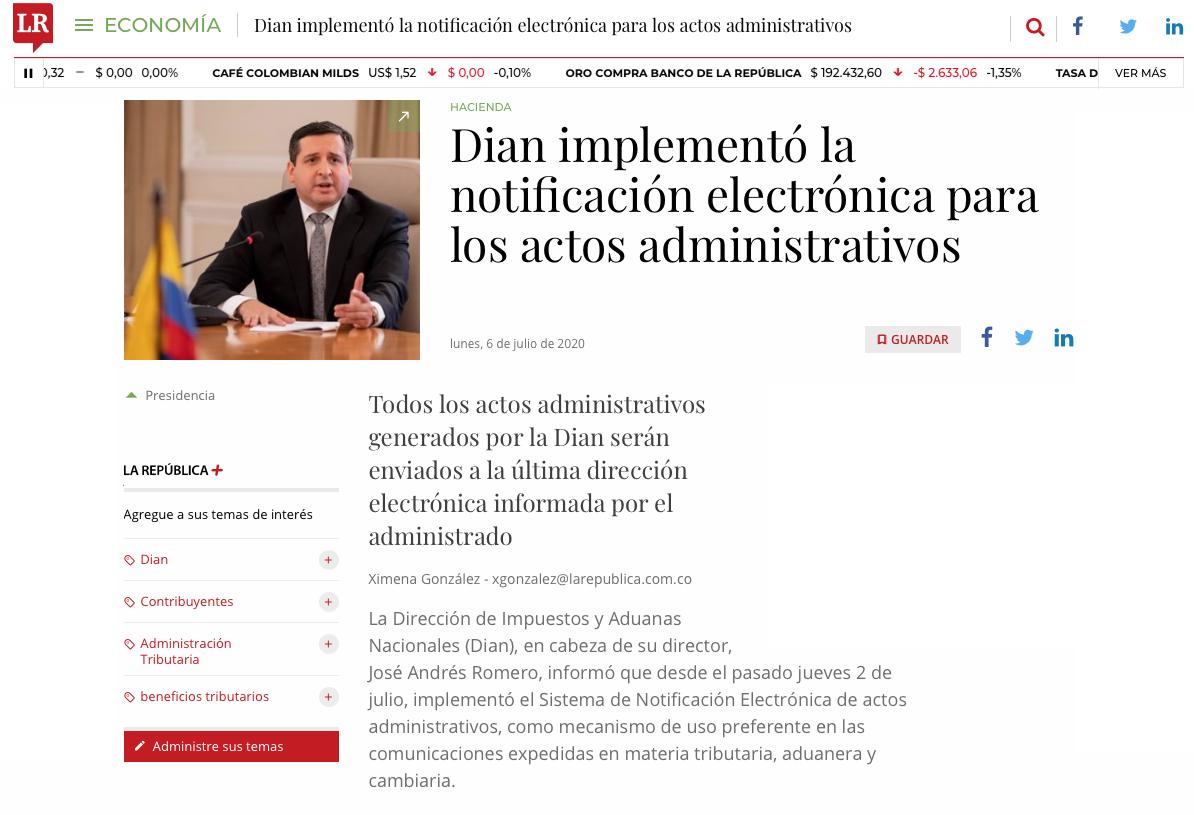 Dian implementó notificación electrónica para actos administrativos