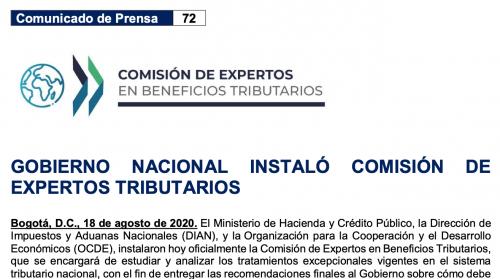 Gobierno Nacional instaló comisión de expertos tributarios