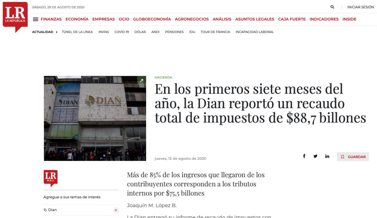 Desde enero a julio la Dian reportó un recaudo total de impuestos de $88,7 millones