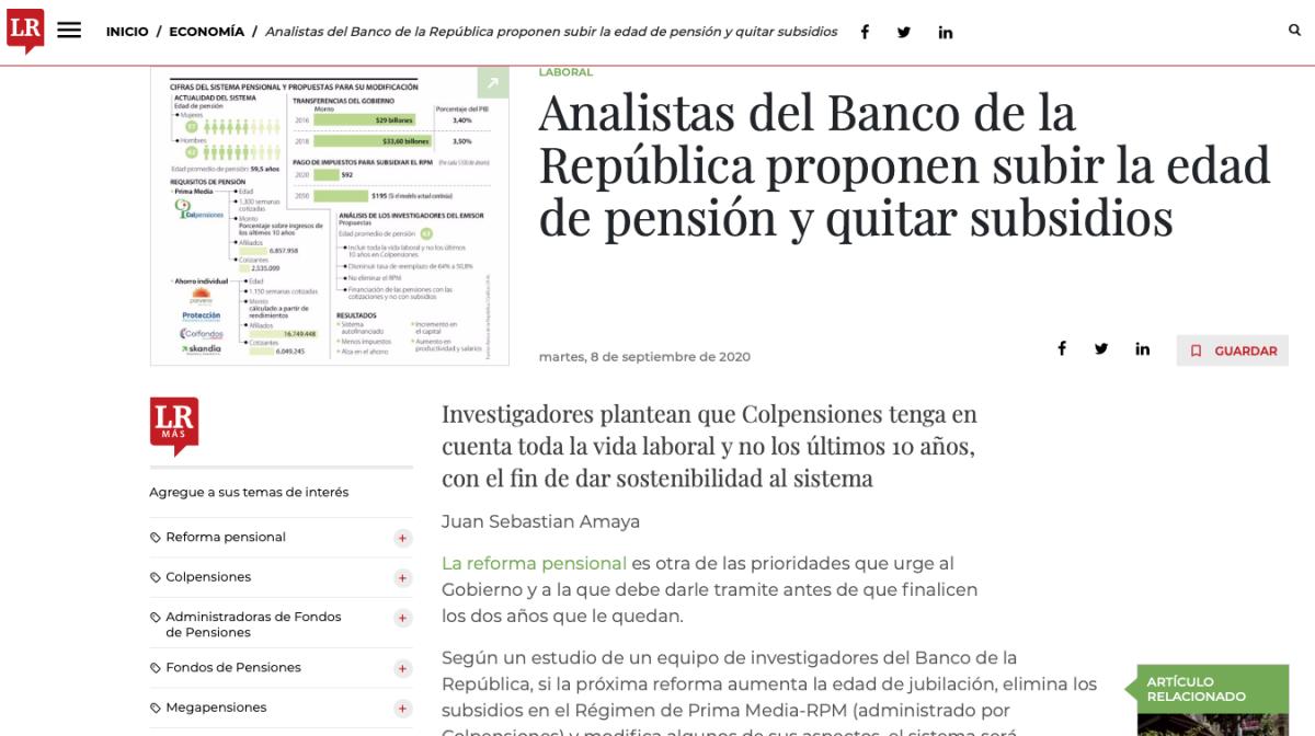 Banco de la República propone subir la edad de pensión y quitar subsidios