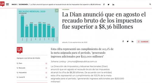 Dian recaudó en agosto más de $8,36 billones