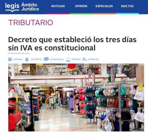 Decreto que estableció los tres días sin IVA es constitucional