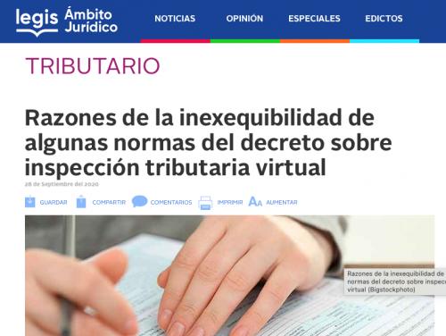 Motivos por los que algunas normas del decreto sobre inspección tributaria virtual son inexequibles