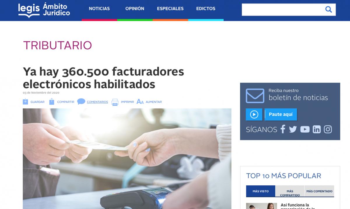 Más de 360.500 facturados electrónicos habilitados