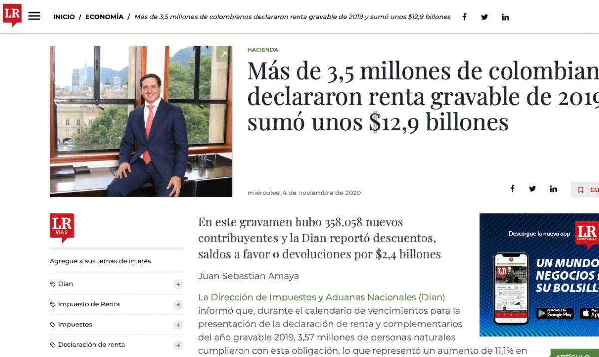 Más de 3,5 millones de colombianos declararon renta gravable de 2019 y sumó unos $12,9 billones