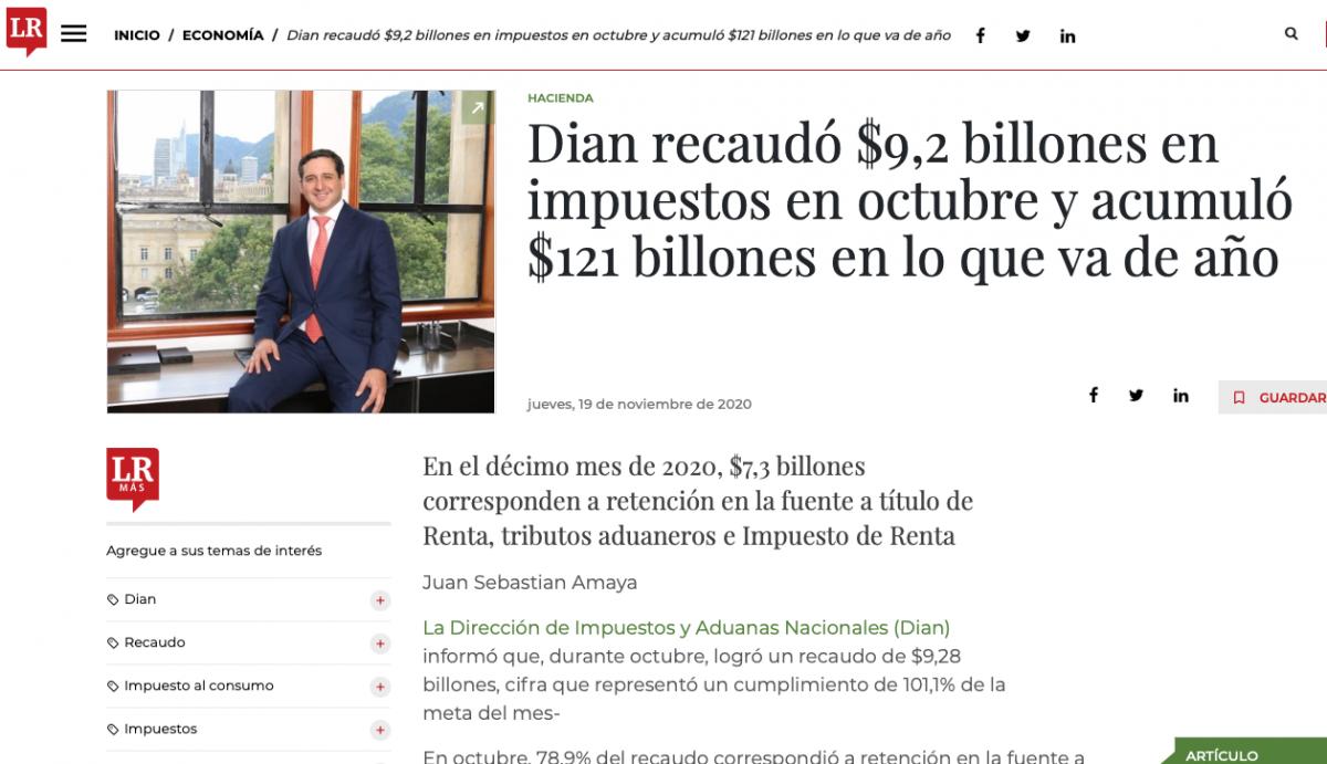 Dian recaudó $9,2 billones en impuestos en octubre con un acumulado anual de $121 billones
