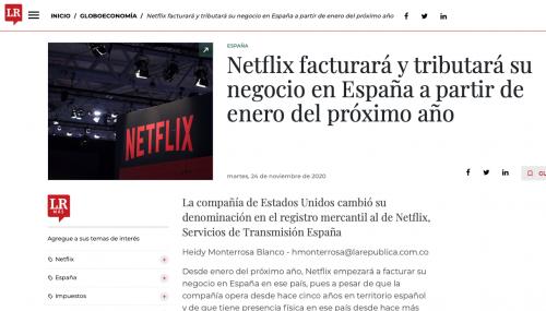 Netflix facturará y tributará su negocio en España a partir de enero del 2021