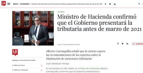 Ministro de Hacienda confirmó que el Gobierno presentará la tributaria antes de marzo de 2021