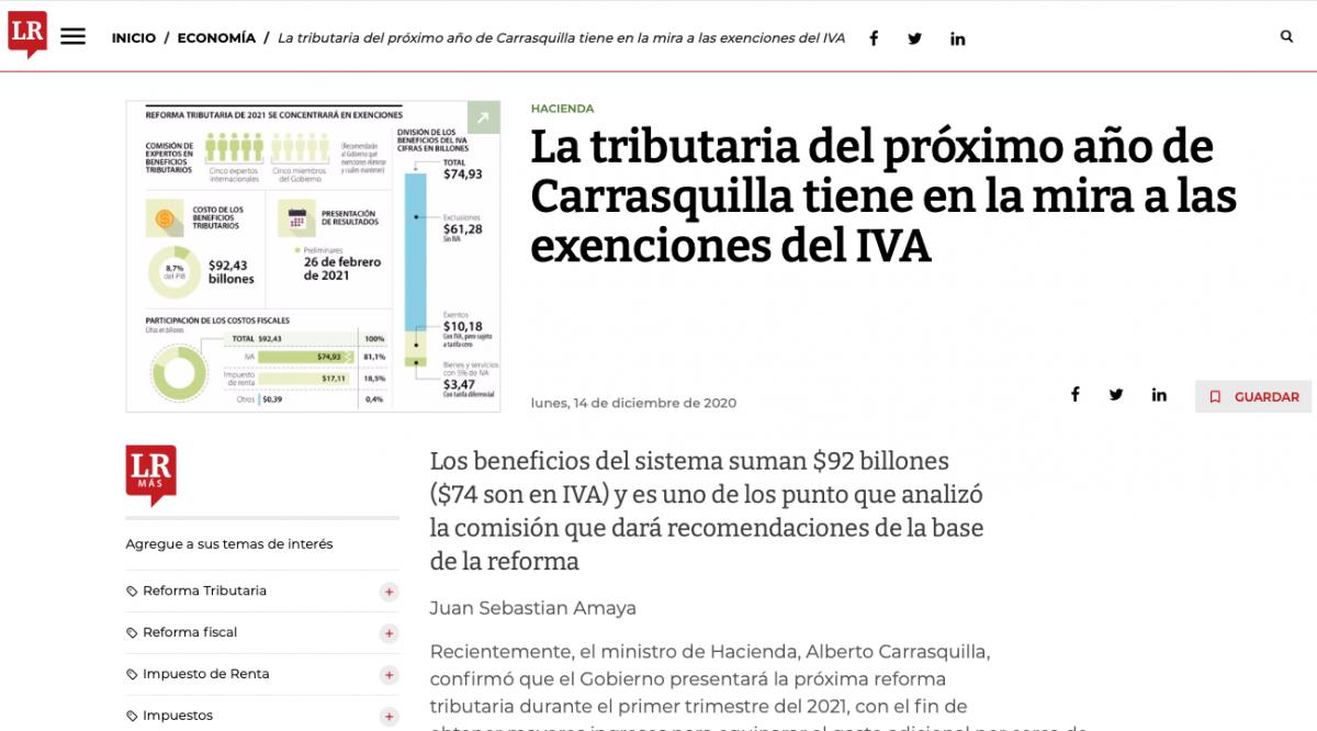La tributaria de Carrasquilla del próximo año tiene en la mira a las exenciones del IVA