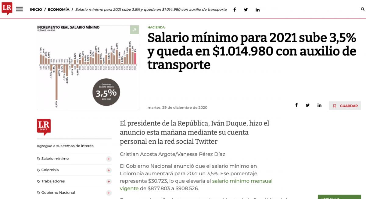 Salario mínimo para 2021 sube 3,5% y queda en $1.014.980 con auxilio de transporte