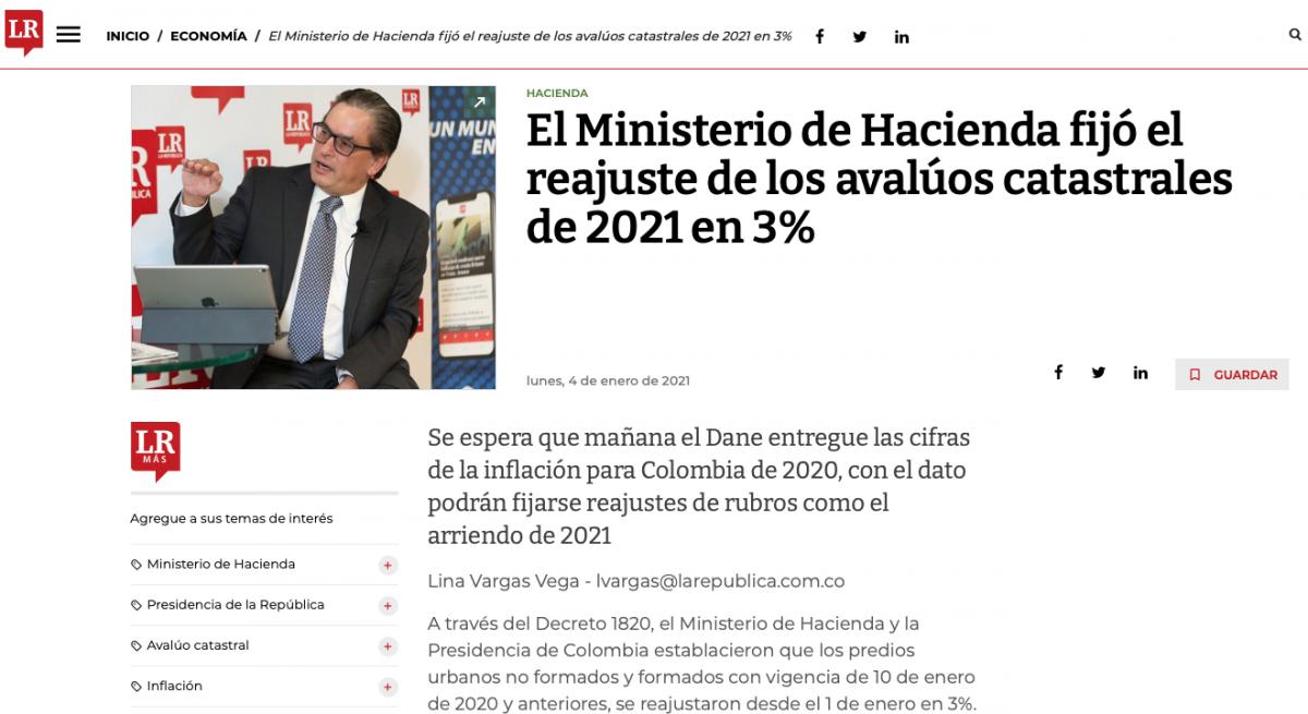 El Ministerio de Hacienda fijó el reajuste de los avalúos catastrales del 2021 en 3%