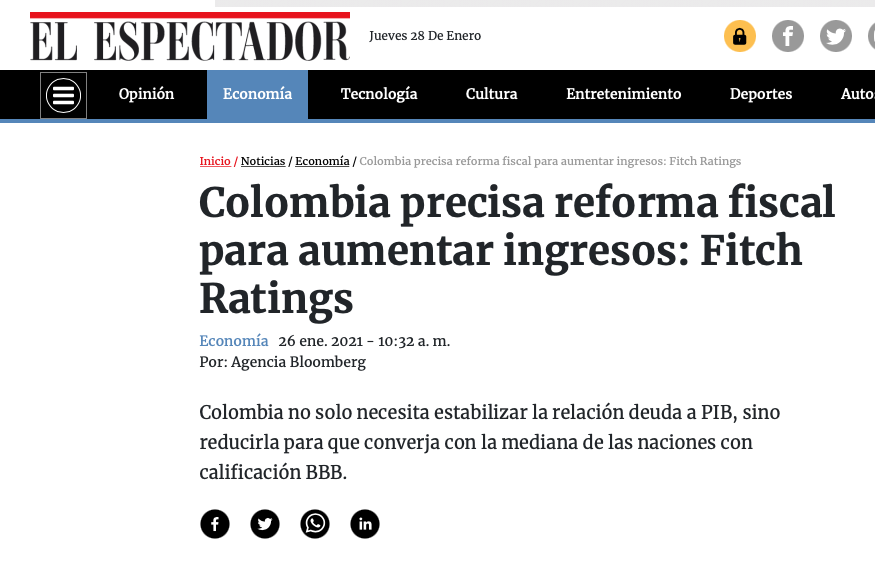 Colombia precisa reforma fiscal para aumentar ingresos: Fitch Ratings