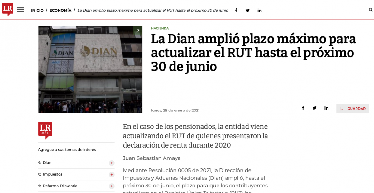La Dian amplió plazo máximo para actualizar el RUT hasta el próximo 30 de junio